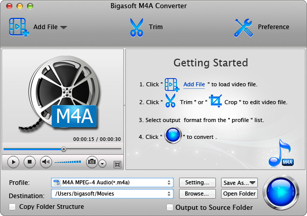 Bigasoft M4A Converter for Mac 3.7.44.4896
