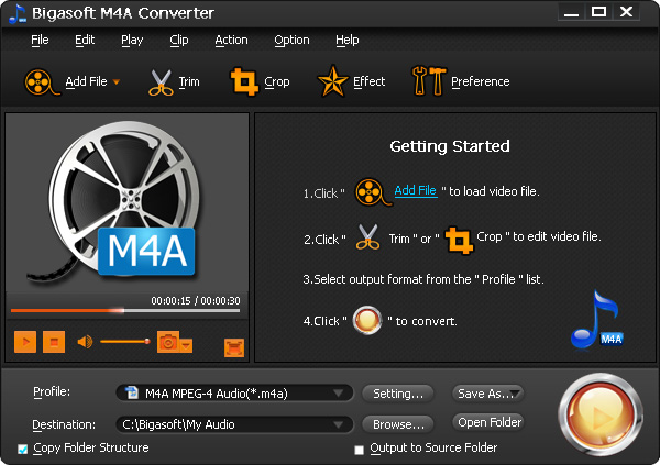 Screenshot of Bigasoft M4A Converter 3.3.14.4128