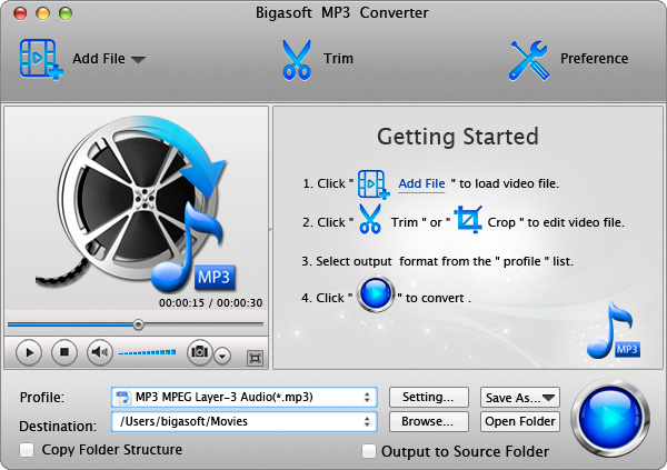 Screenshot of Bigasoft MP3 Converter for Mac