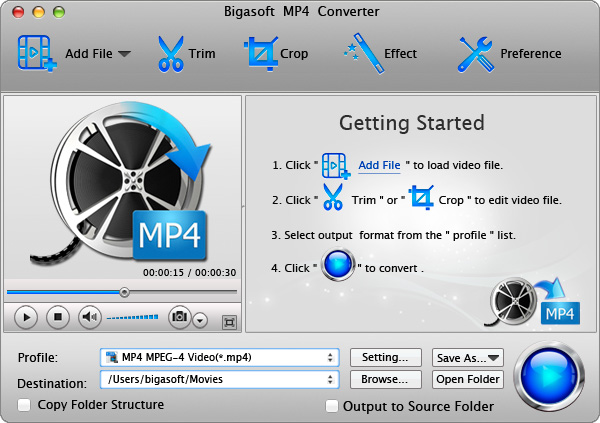 Bigasoft MP4 Converter for Mac Screenshot