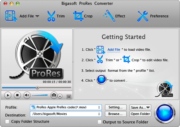 Bigasoft ProRes Converter for Mac 3.7.37.4832 full