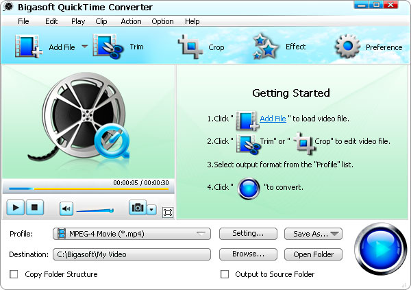 Bigasoft QuickTime Converter Screen shot
