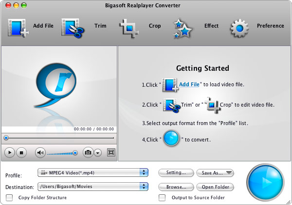 Bigasoft RealPlayer Converter for Mac 3.7.44.4896