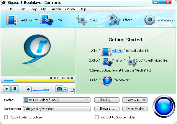 Bigasoft RealPlayer Converter - real player converter, realmedia converter, convert real audio, convert real video, realplayer file converter, real player file converter, real player to itunes, real player to avi, avi to real player, realplayer converter - Convert Real video and Real audio files to any video and any audio easily.