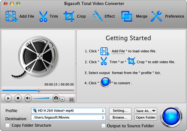 Bigasoft Total Video Converter for Mac - mac video converter, video converter for mac, total video converter for mac, total video converter mac, mac movie converter, movie converter for mac, converter mac software, convert video on mac, video ripper for mac, video converter software for mac - Mac video converter to convert between various video/audio formats on Mac OS X