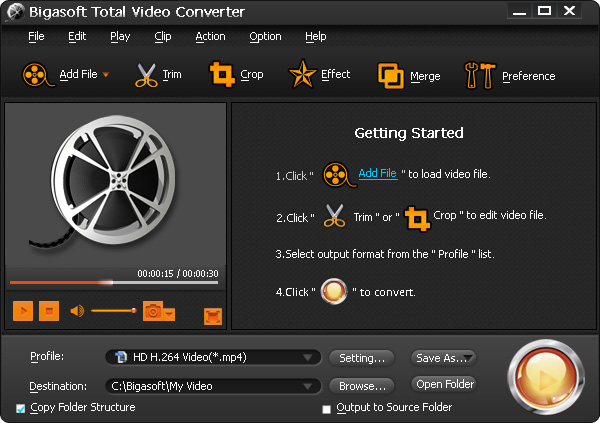 Click to view Bigasoft Total Video Converter 6.2.0.7269 screenshot