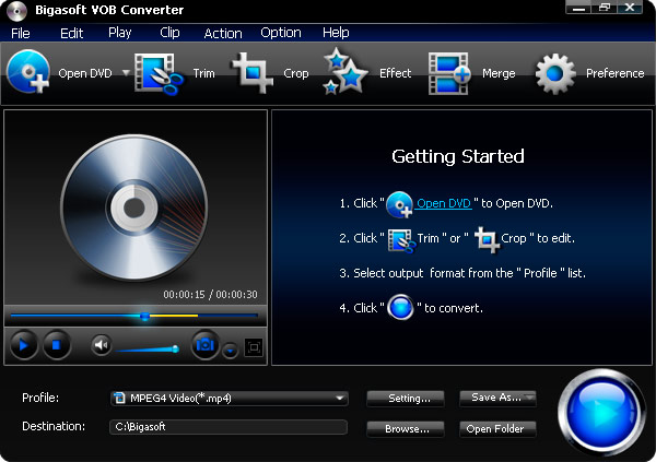 Bigasoft VOB Converter full screenshot