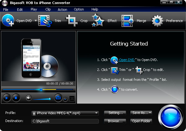 Bigasoft VOB to iPhone Converter 3.2.3.4772