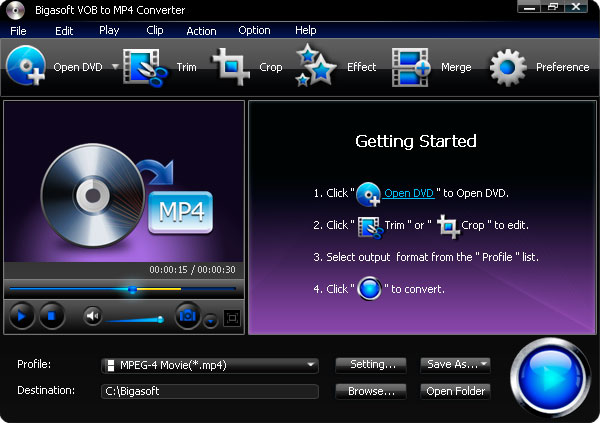 Bigasoft VOB to MP4 Converter 3.2.3.4772