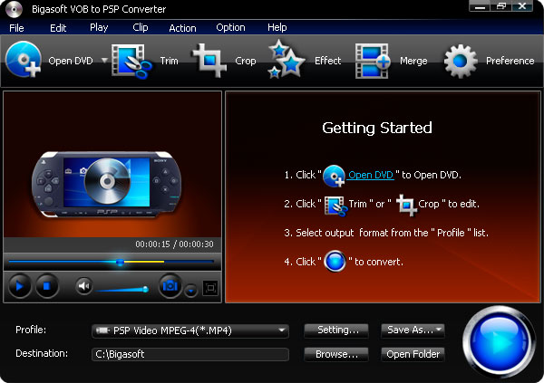 Screenshot of Bigasoft VOB to PSP Converter