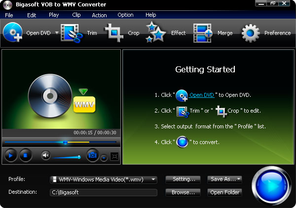 Screenshot of Bigasoft VOB to WMV Converter