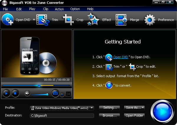 Screenshot of Bigasoft VOB to Zune Converter