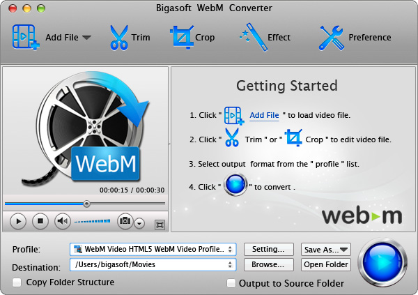 Bigasoft WebM Converter for Mac - vp8 encoder mac, webm encoder mac, webm converter mac, vp8 decoder mac - Create WebM/VP8 from any format video and convert WebM to various videos on Mac