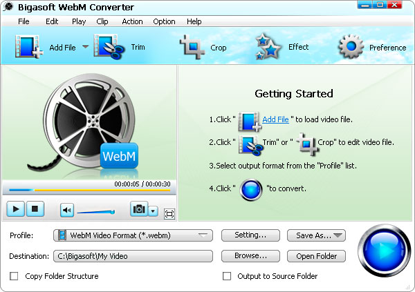 Screenshot of Bigasoft WebM Converter
