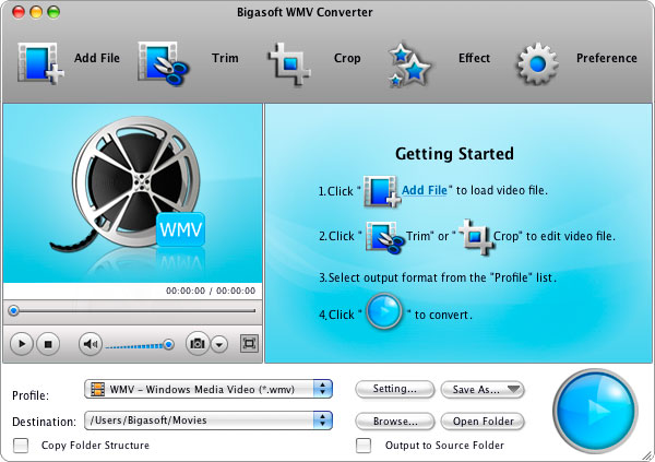Bigasoft WMV Converter for Mac Screenshot