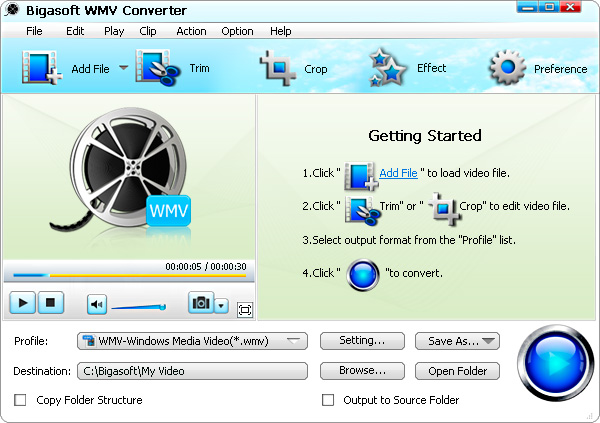 Bigasoft WMV Converter screenshot