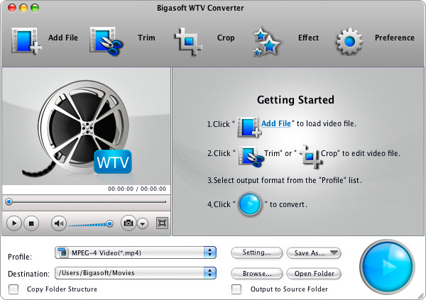 Bigasoft WTV Converter for Mac full screenshot