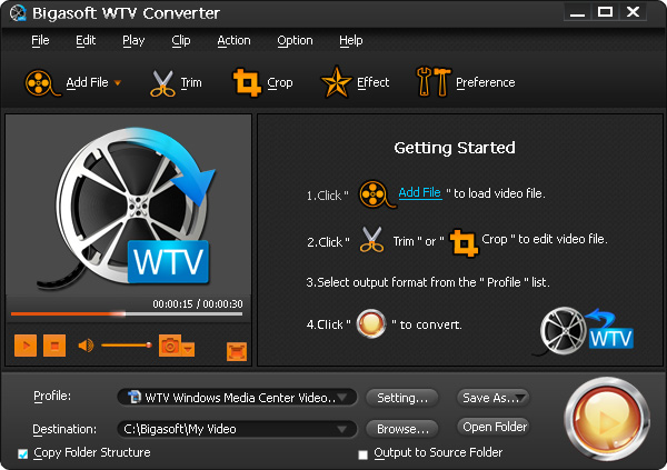 Bigasoft WTV Converter Screen shot