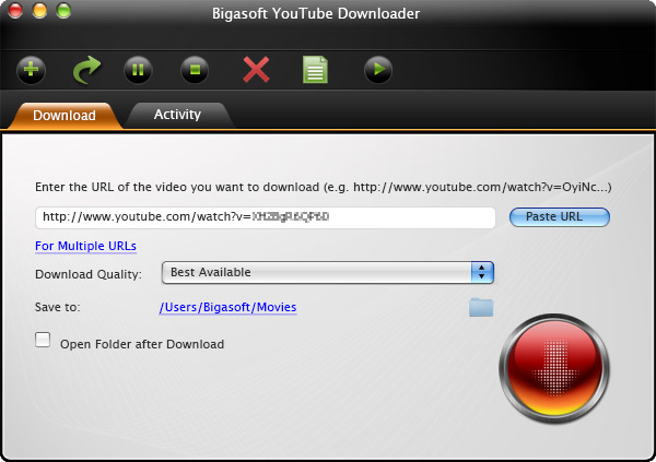 Bigasoft YouTube Downloader for Mac