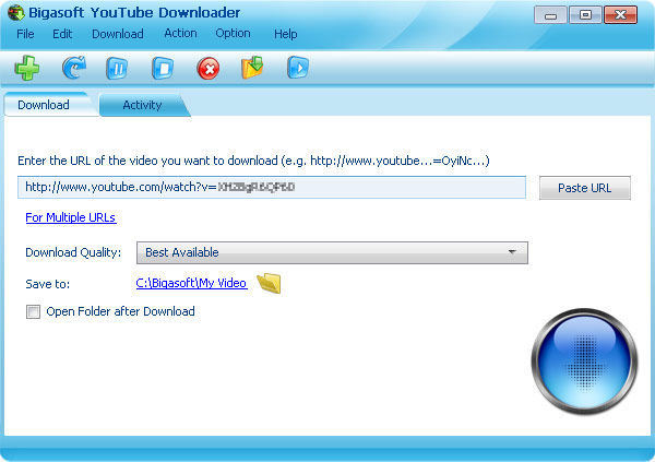 Screenshot of Bigasoft YouTube Downloader