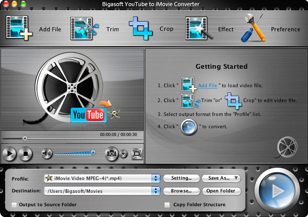 Bigasoft YouTube to iMovie Converter Screenshot