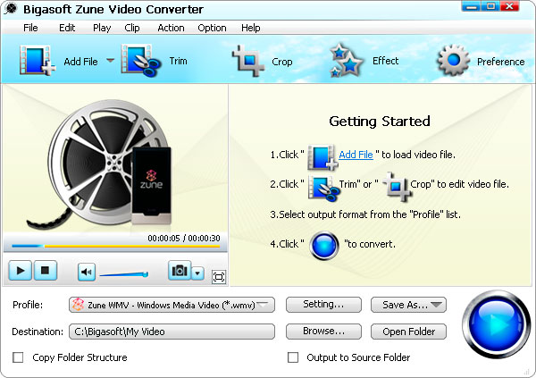 Click to view Bigasoft Zune Video Converter 3.7.44.4896 screenshot